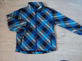 2594 Karrierte Softshelljacke grau blau schwarz von COLOUR KIDS Gr. 116/122