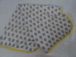 494 Wickelunterlage/Decke weiß mit Löwen ,abgesetzt mit gelb