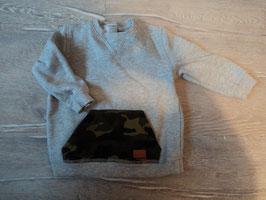 3125 Pulli grau mit abgesetzter Tasche im Ami Style von 7 FOR ALL MANKIND Gr. 80/86