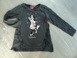 SS-114 ✿LA Shirt grau mit Minnie Mouse und Glitzerstein Herzchen von DISNEY✿ Gr. 116