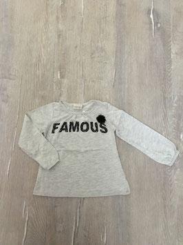 1797 LA Shirt grau meliert 'Famous' mit spitzenpuschel ;) von ZARA Gr. 98