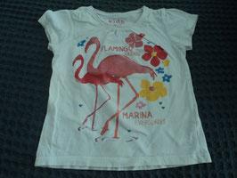 F-114 Shirt weiß mit Flamingos die Glitzern von KIDS TCHIBO Gr. 86/92