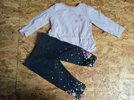 Y-3 Set LA Shirt rosa weiß gestreift mit Blümchen und Rüschen an den Seiten- Leggings dick /dunkelgrau mit Blumen und Pilze von TOPOMINI GR. 74
