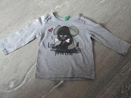 432 LA Shirt grau mit Hund und Knochen von BENETTON Gr. 74