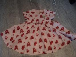 2818 Tolles Kleid aus Leinen in rosa mit roten Blumen von STEIFF Gr. 74