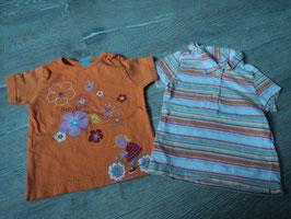 3018 Set Shirts bunt gestreift und Orange mit Blumen von TOPOLINO Gr. 80