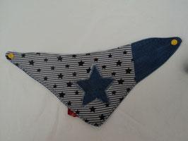 538 Handmade Wendedreickeckstuch aus Jeans mit Sterne -mit Snaply Druckknopf