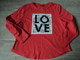219 LA Shirt in korall mit Wendepailetten unten runder Saum  LOVE von S'OLIVER Gr. 140