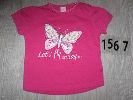 1567 Shirt pink mit Schmetterling Gr. 86