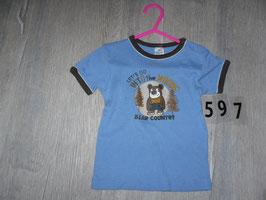 597 Shirt blau mit Bär Gr. 86/92