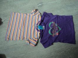 2994 Set Shirts gestreift und lila mit Herz Ballet School von PAPAGINO Gr. 74/80
