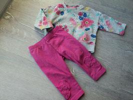 V-115 Zusammengestelltes Set Pulli grau mit Blumen von H&M-dickere Leggings in pink,unten Herzchen von TOPOMINI Gr. 74