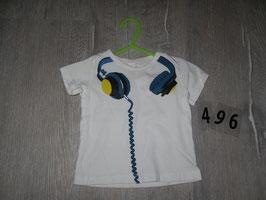496 Cooles  Shirt weiß mit Kopfhörer voon ZARA Gr. 68