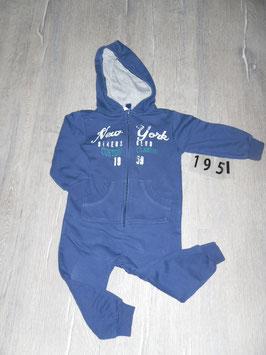 1951 Hausanzug innen gefüttert dunkelblau New York von ALIVE Gr. 86/92