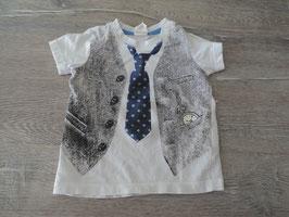 M-64 Shirt weiß mit toller Applikation Weste Krawatte Taschenuhr von H&M Gr. 68