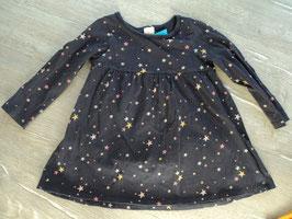 SS-6 Kleid dunkel lila/ mit bunten Sternchen von H&M Gr. 98