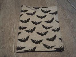2222 Schlauchschal grau mit Fledermäuse Handmade  Gr. 74