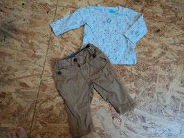 V-151 Zusammengestelltes Set LA Shirt beige mit mint Eisbären von FEETJE und Chino braun von TOM TAILOR  Gr. 68