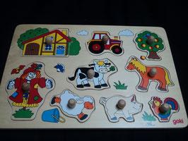 AL-145 Holzpuzzle für die Kleinen Bauernhof von GOKI