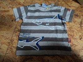 AL-209  Shirt braun/beige gestreift mit Haie von TOPOMINI Gr. 86