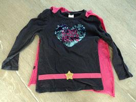 SS-47 LA Shirt dunkel lila mit Wendepailletten Cool Hero und  Umhang/Klettverschluss pink mit Sterne von C&A Gr. 116