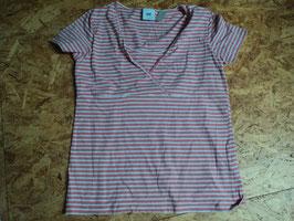 AL-65 Stillshirt in weiß/rosa gestreift von ML gr. XL
