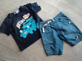 M-153 Zusammengestelltes Set Shirt dunkelblau mit Auto und Shorts Petrol von KANZ Gr. 74