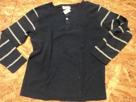 135 LA Shirt dunkelblau -arme sind blau/grau meliert gestreift von ZARA KIDS COLLECTION Gr. 128