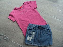 SK-63 Sommer Set zusammen gestellt Shirt rosa mit Glitzerschrift esprit von ESPRIT und Jeansrock mikt Apllis von H&M Gr. 92