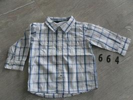 664 Karriertes Hemd blau weiß Gr. 74
