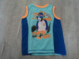 2509  Shirt blau und neon orange mit Affe von TOPOLINO Gr. 104