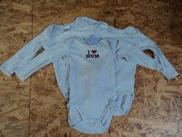 M-178 Set LA Body I Love Mum und 2 Unifarbene von H&M Gr.  80