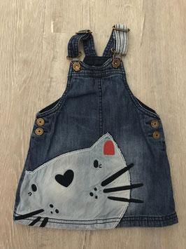 2040 Mega schönes Latz Jeans Kleid mit Katzengesicht von NEXT Gr. 86