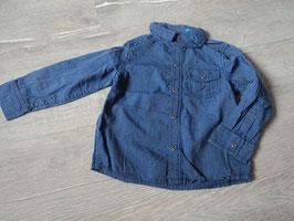 2953 dunkelblau grau gestreiftes Hemd mit Druckknöpfe von TOPOMINI Gr. 86