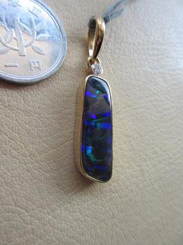 14K GOLD ダークブルー・ボルダーオパール、Dark Blue Boulder Opal ダイヤモンドDiamond ペンダントトップ