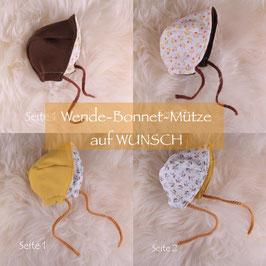 Wende-Bonnet-Mützchen auf WUNSCH (Dreikäsehoch)