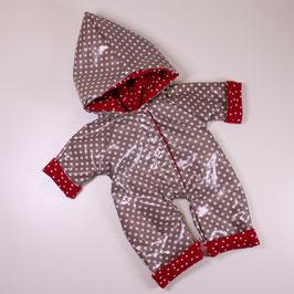 Regenanzug cinder/ rot Tupfen