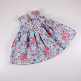 """Kleid """"Omas Liebling"""", hellblau/ himbeere Blumen"""