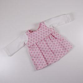 Kleid, langärmlig rosa Blumen/ Ärmel weiß (Dreikäsehoch)