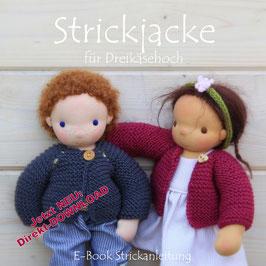 E-Book Strickjacke für Dreikäsehoch (30cm) Strickanleitung