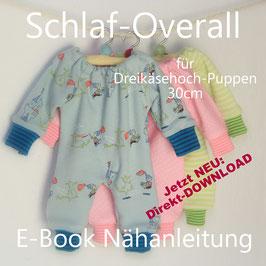 E-Book Schlaf-Overall für Dreikäsehoch (30cm) Nähanleitung und Schnittmuster