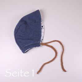 Wende-Bonnet-Mütze blau/ Waldwiese