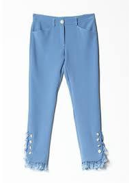 Pantalone azzurro donna Denny Rose art 721DD20011 Autunno Inverno 2017 2018