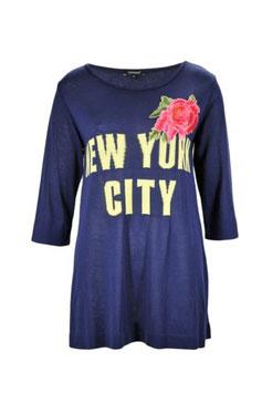 Maglia filo applicazione rosa donna Denny Rose art 63DR15006 Primavera 2016 colore blu