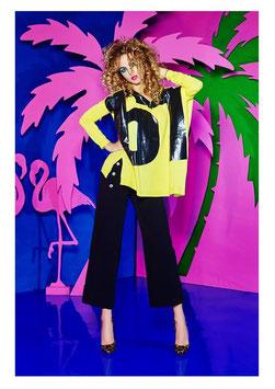 T-shirt maglia donna arancio e bianca Denny Rose art 63dr15013 Primavera 2016