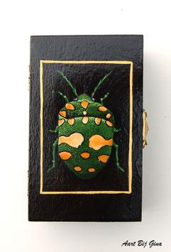 Hand beschilderd houten kistje groene kever groot