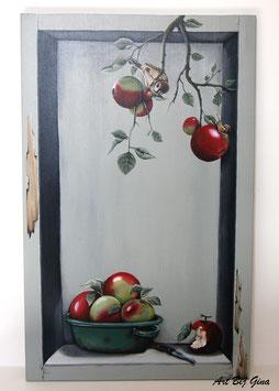 De Appel....Hand beschilderd houten paneel