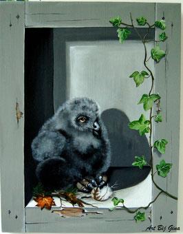 Ollie.....Uilskuiken, hand beschilderd houten paneel