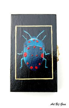 Hand beschilderd houten kistje Blauwe kever groot
