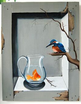 Sven, ijsvogel met een missie....Hand beschilderd houten paneel